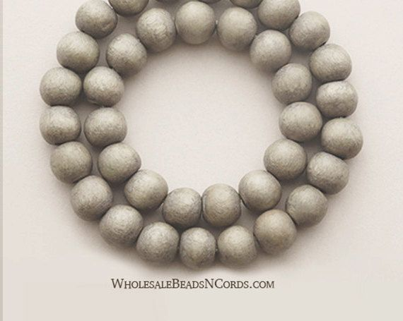 15 inch Strand 6mm GRAY WOOD BEADS  Large by WholesaleBeadsNCords