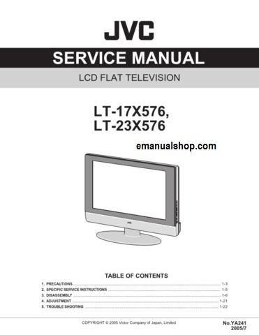jvc lt 23x576 lcd flat television service manual download rh pinterest com jvc tv service manual JVC Rear Projection TV Manual 6 183