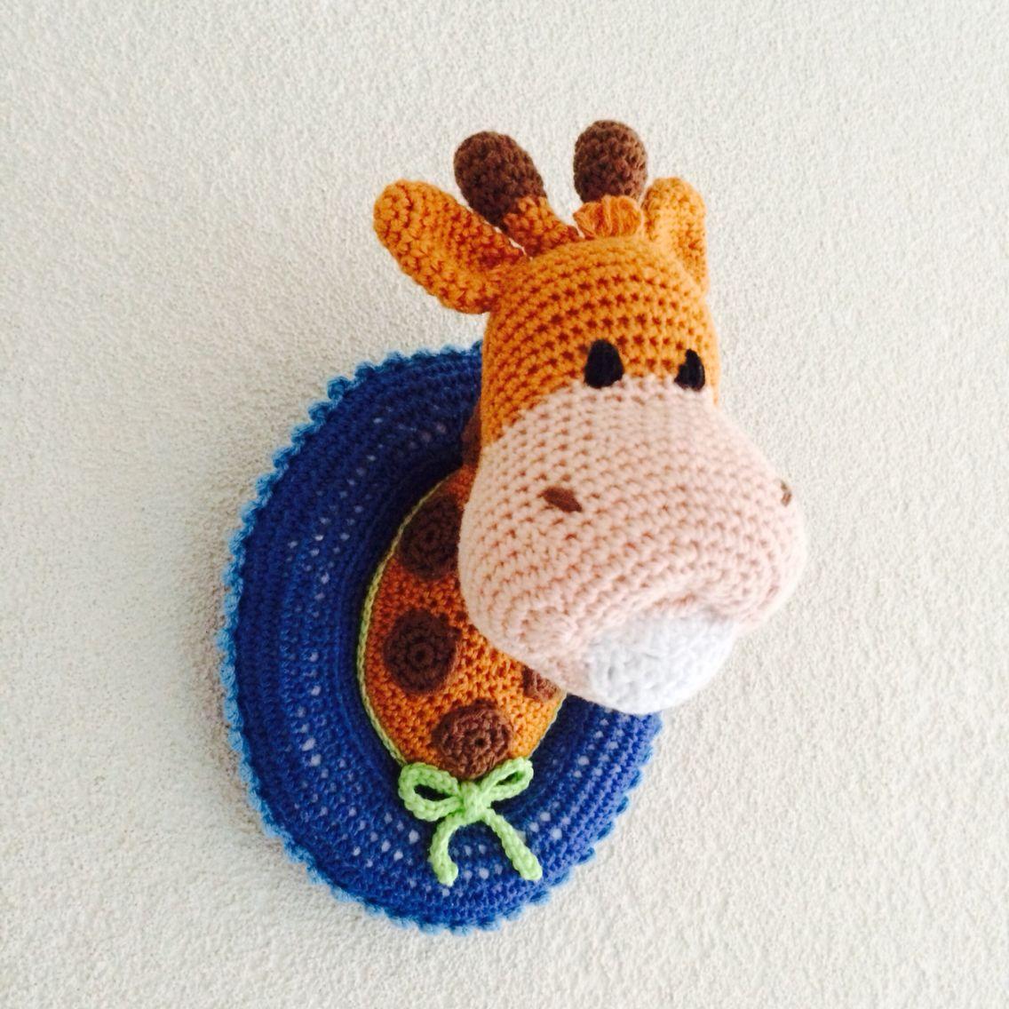 Wandbord giraf Crochet giraffe.