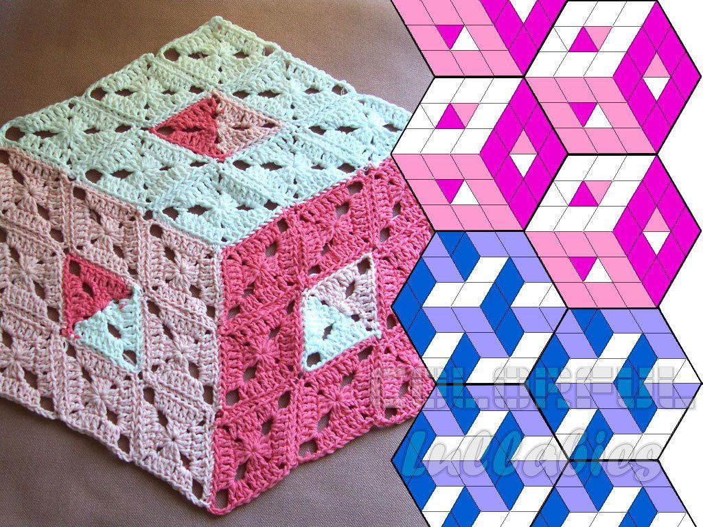 Optical illusion crochet pattern 3d illusion stacked cubes no 2 optical illusion crochet pattern 3d illusion stacked cubes no 2 rhombus granny square pattern tumbling blocks diamond stacked blocks bankloansurffo Image collections