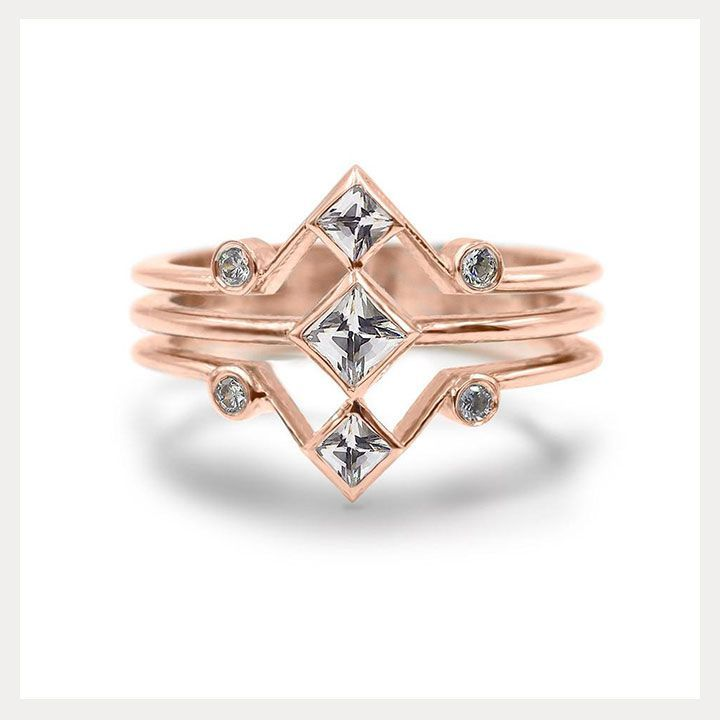 Engagement Rings Wedding Vintage Inspired Yet Modern By Giacomelli Jewelry The Corner Stack In Rose Gold