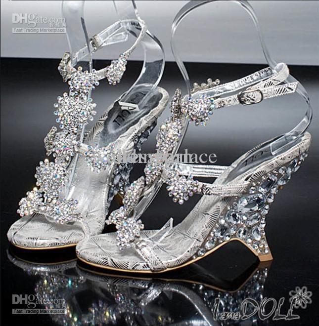 Cheap Hot Sale Litter Silver Bridal High Heels Shoes Wedding ...