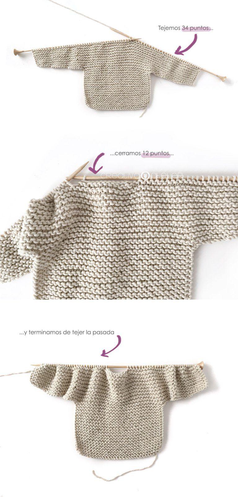 Kimono de Punto para Bebé [ Tutorial y Patrón GRATIS ] | Puntadas ...
