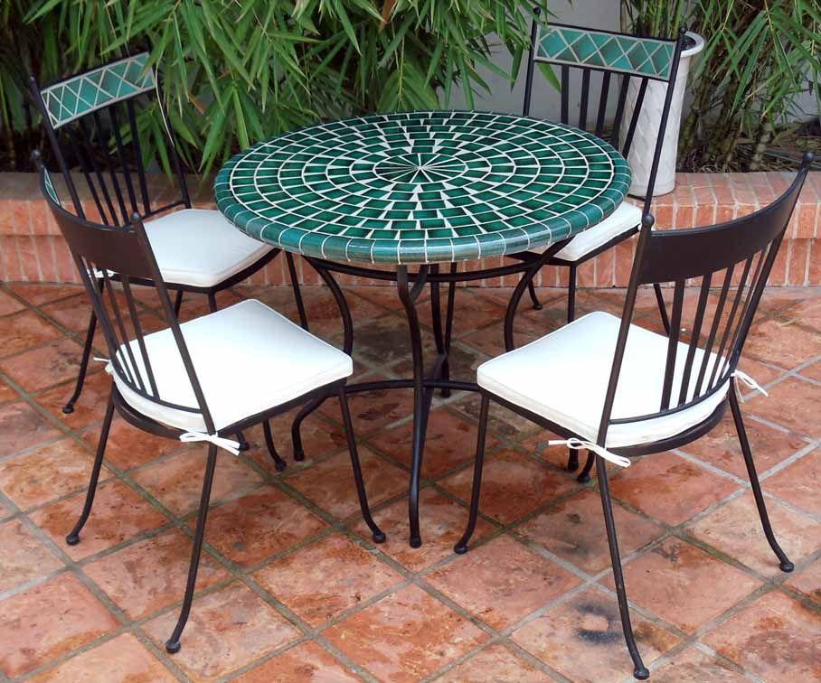 table mosaique verte table mosaique