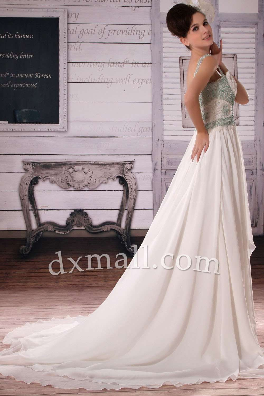 A-line Wedding Dresses Spaghetti Straps Court Train Chiffon Ivory W10010105826