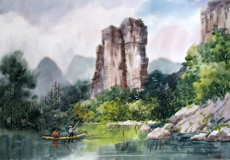 Original Painting Beautiful Chinese Artists Artwork Realistic Watercolor Landscape Painting Chinese Landscape Painting Watercolor Landscape Paintings Watercolor Landscape