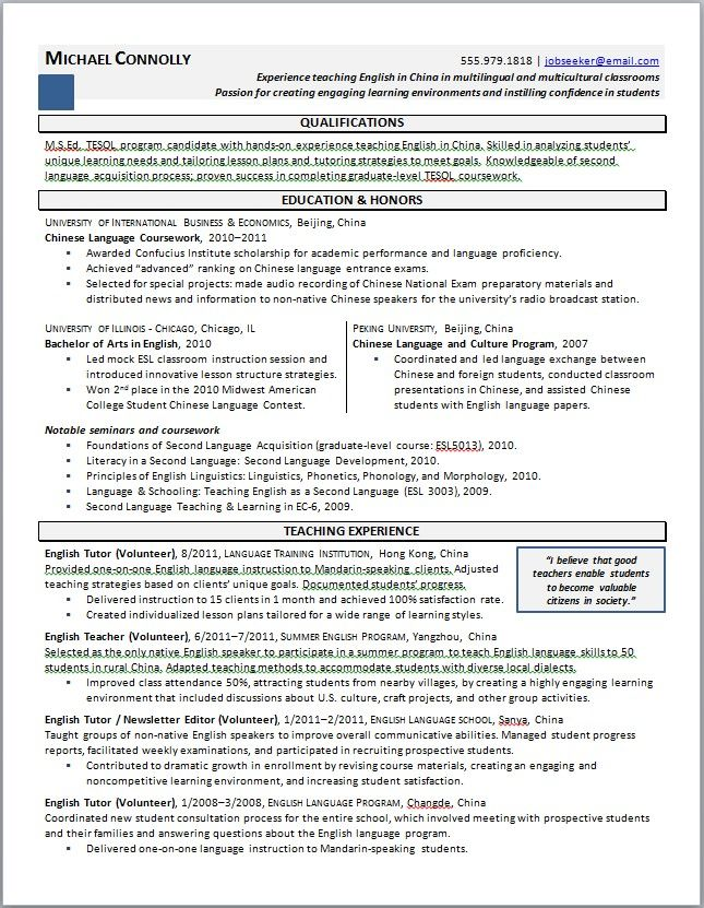 Resume Language Skills Teacher Experience Resume  Httpjobresumesample496Teacher