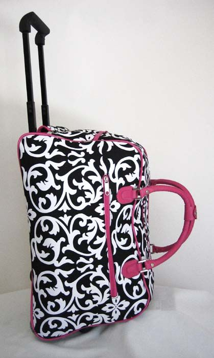 Pink Duffle Bag With Wheels 20 Duffel Tote Rolling Luggage Travel Ebay