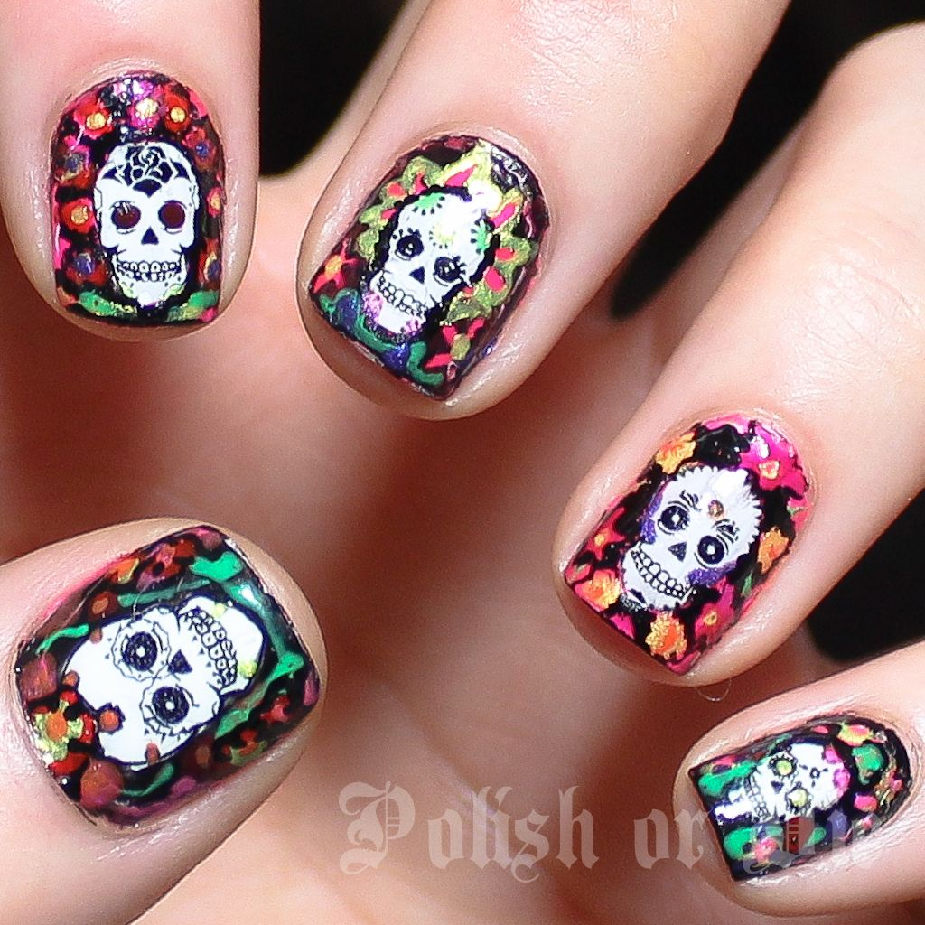 Polish days: Something new – day of the dead water decals | Colorful ...