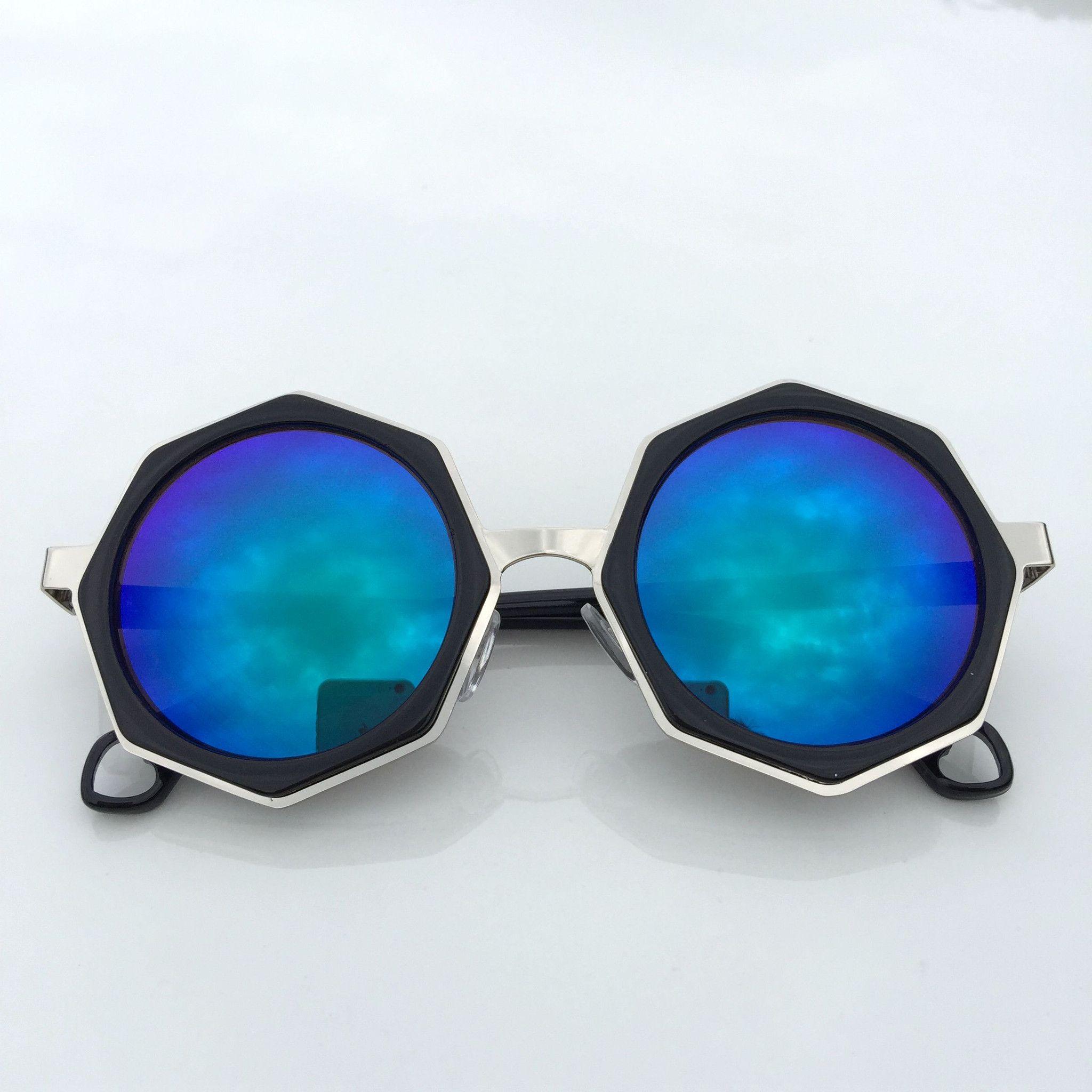ccb928ac2b372 Unique Blue Steampunk Burning Man Polygon Retro Sunglasses Goggle Shades  Sunnies for Women Men