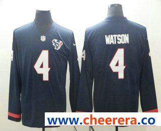 02f4da8a8 Men s Houston Texans  4 Deshaun Watson Nike Navy Therma Long Sleeve Limited  Jersey
