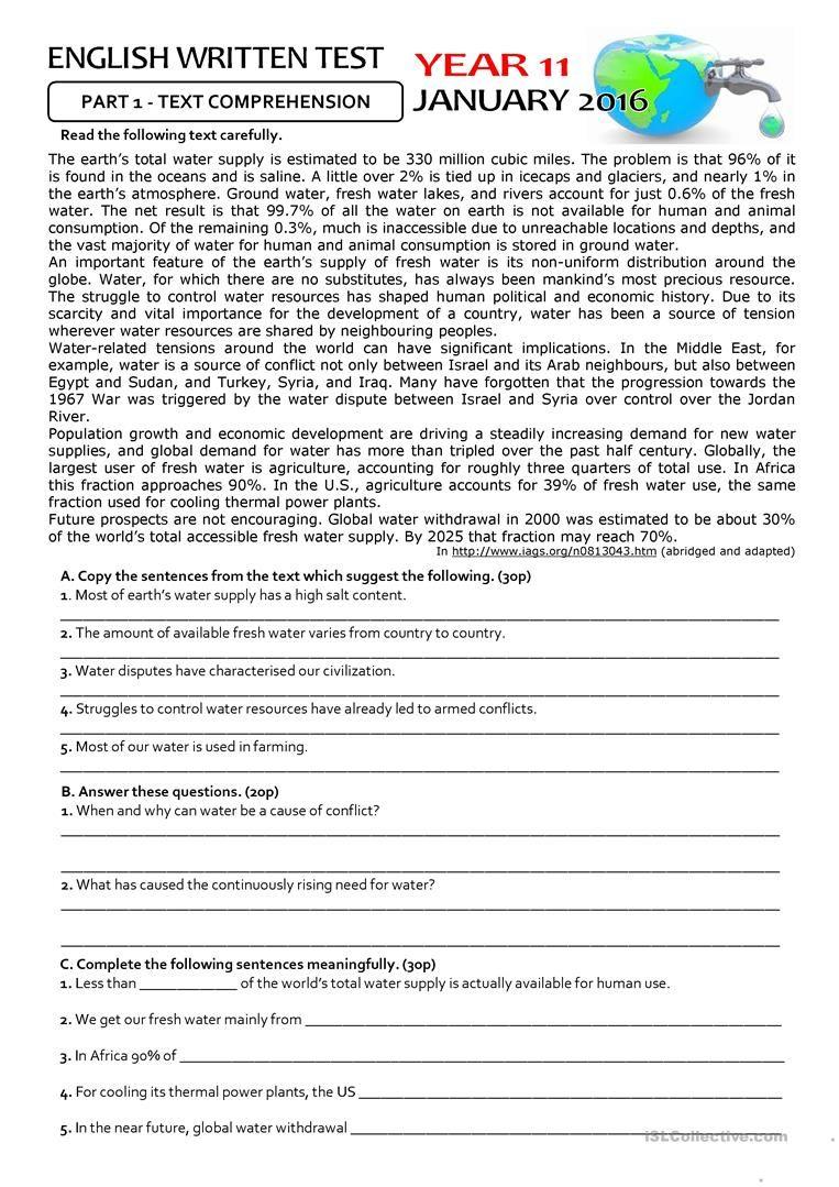 THE ENVIRONMENT - 11th form TEST | Для уроков | Pinterest ...