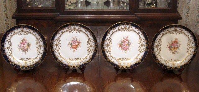 4 Antique 19th c. SEVRES PORCELAIN Cobalt CABINET PLATES Handpainted Flowers