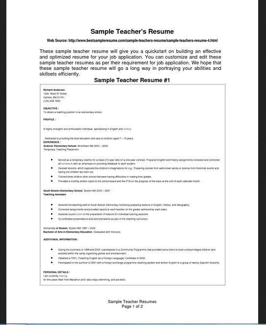 resume template for teachers Nwike\u0027s workout Pinterest