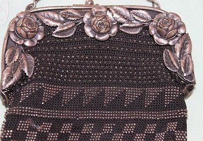 Antique-Metal-Beaded-Purse-c1800-1900s-Black-Ornate-Brass-Repair-Parts-Vintage