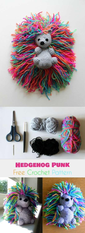 Hedgehog Punk Free Crochet Pattern #perfecteyebrows