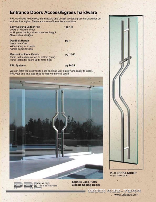 The lock is a strong contemporary design for swinging glass doors aluminum and full frame clad doors and sliding ... & PRL Entrance Door Access and Egress Hardware | Ladder Pulls u0026 Door ...