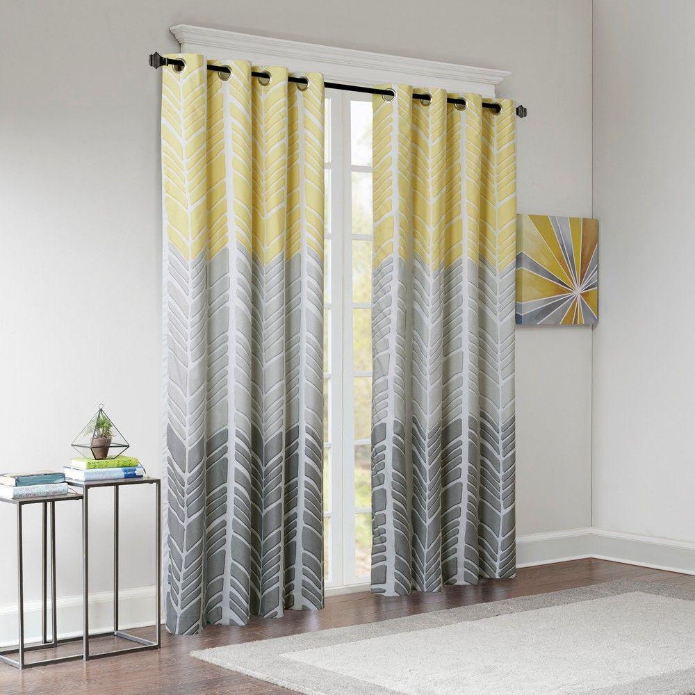 84 X50 Amanda Printed Blackout Window Panel Yellow In 2020 Grey And Yellow Living Room Yellow Living Room Curtains Living Room