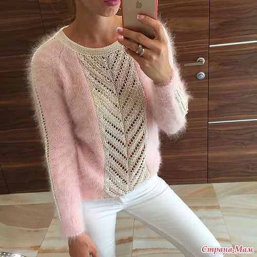 Mohair and lace knit sweater -- designer unknown | // KNITSPO ...