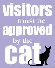 This is hilarious because I don't have a cat and don't like cats.  So, visitors will be waiting a long, long, long time for Cat Approval.  ;)