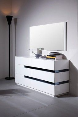 Modrest Contemporary 6 Drawers White Gloss Dresser White Lacquer