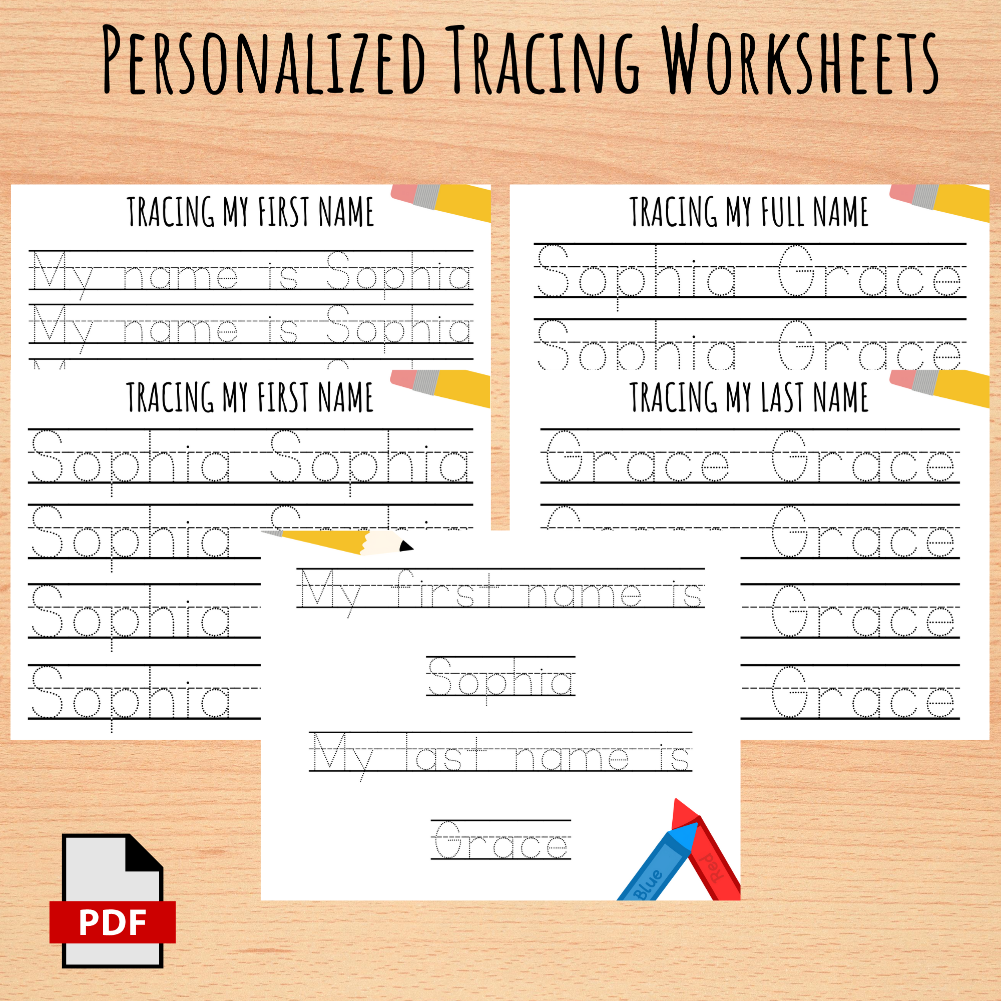Personalized Custom Name Tracing Worksheets