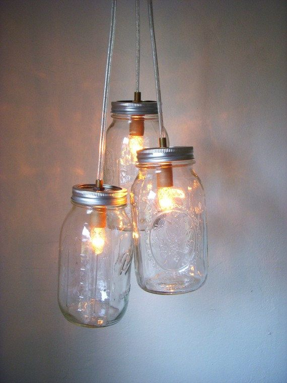 Rustic Glow Mason Jar Chandelier Clear Quart Glass Lamp Upcycled