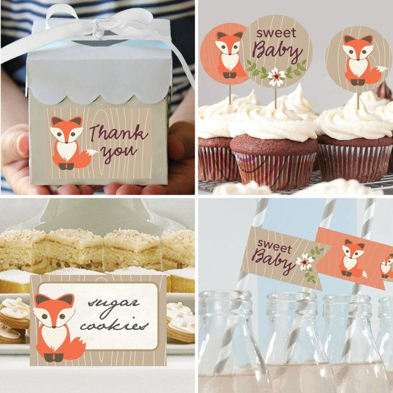 Baby Shower Decor Packages ~ Instant download baby fox theme shower package
