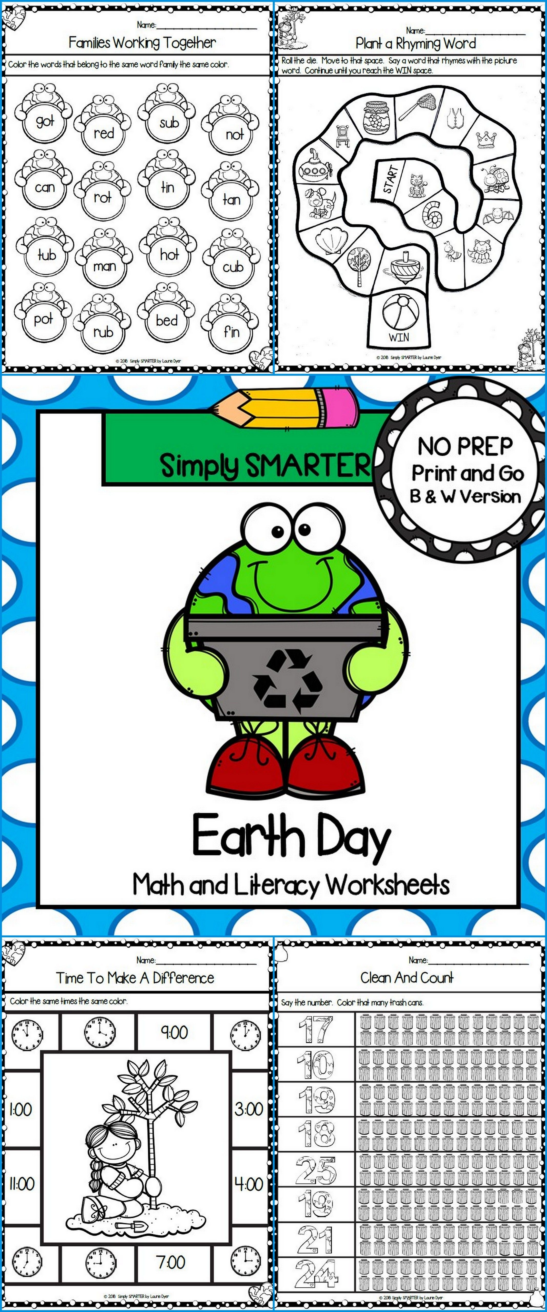 Earth Day Themed Kindergarten Math And Literacy Worksheets