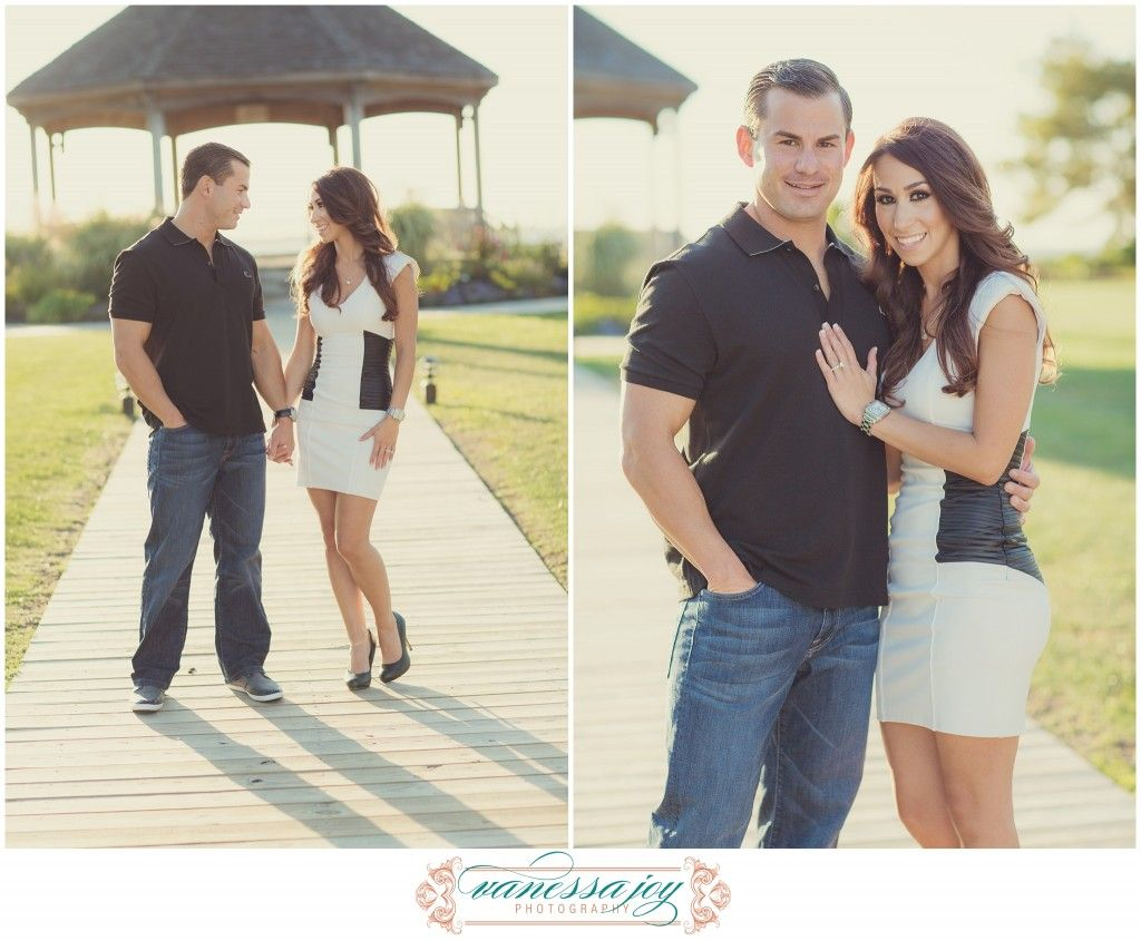 Black dress engagement photos - Jersey Shore Photos Complimenting Colors Black And White Dress Jeans Heels