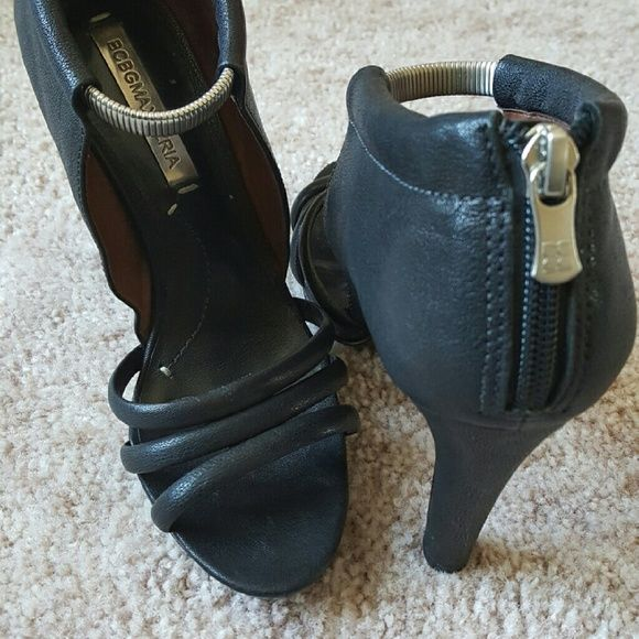 Shoes Black high heeled open toe sandal with silver buckle anklet BCBGMaxAzria Shoes Sandals