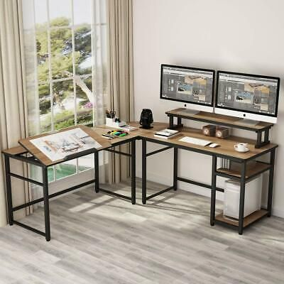 Advertisement 70 8 L Shaped Computer Desk With Monitor Stand Riser Tiltable Drawing Board Z In 2020 Corner Computer Desk Home Office Design Home