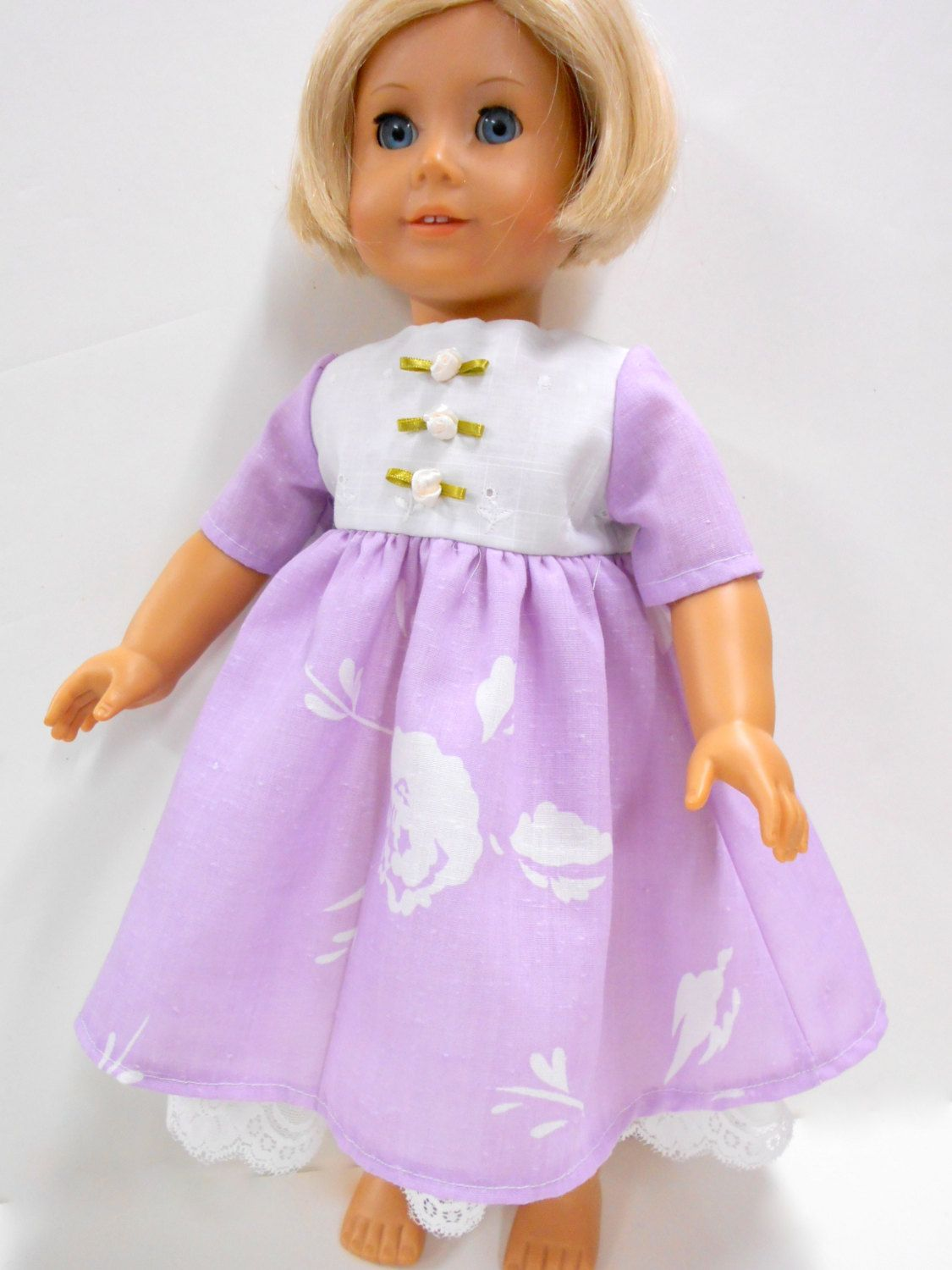 Lavender & Lace Dress for American Girl Doll, Dress for 18
