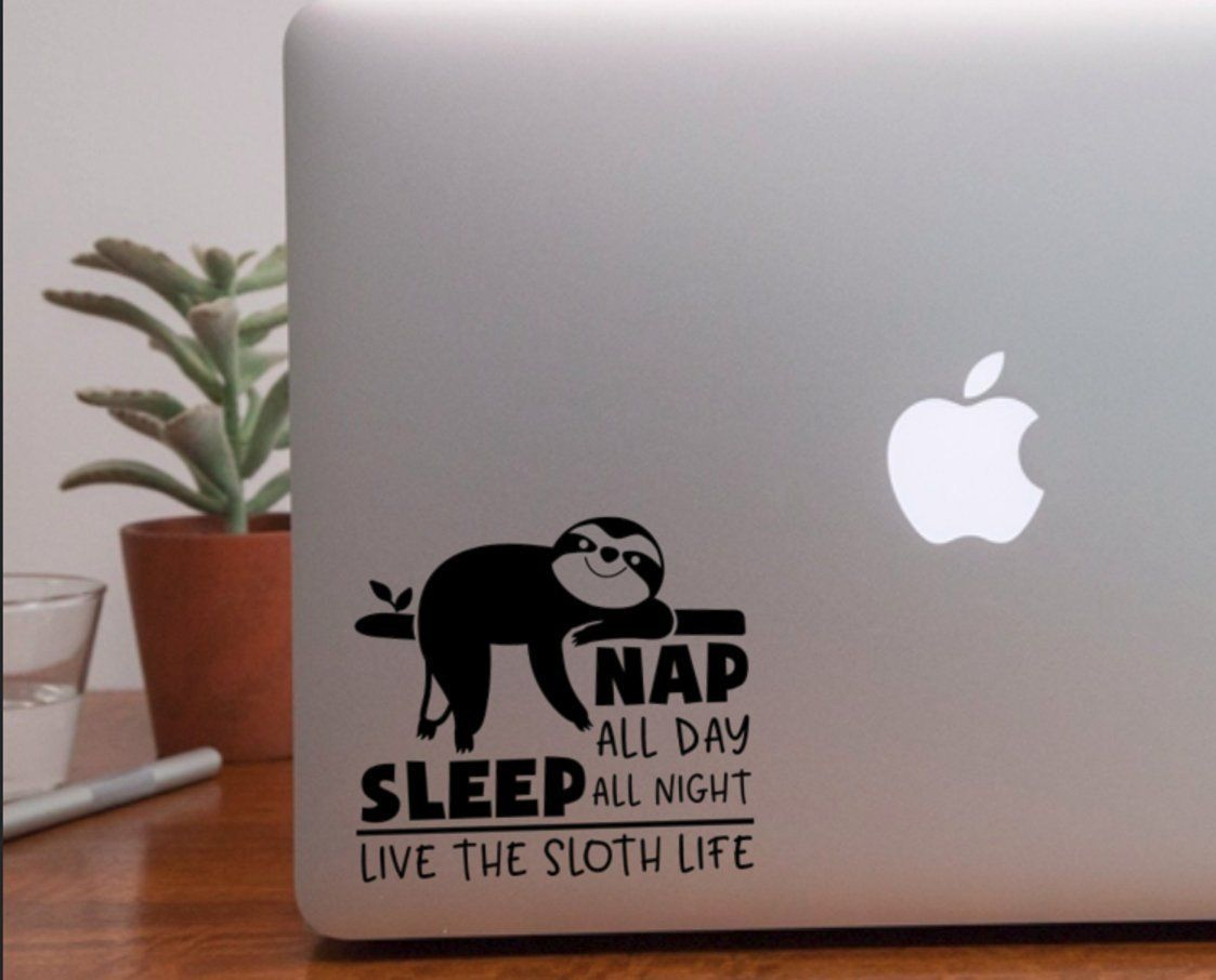 Sloth life vinyl decal laptop sticker nap all day  Cute Lazy | Etsy