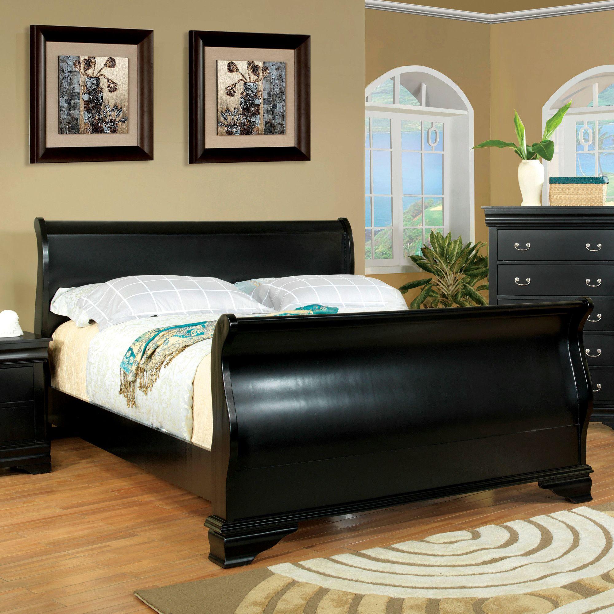 Kyara Upholstered Standard Bed | Bedroom sets, Black sleigh ...