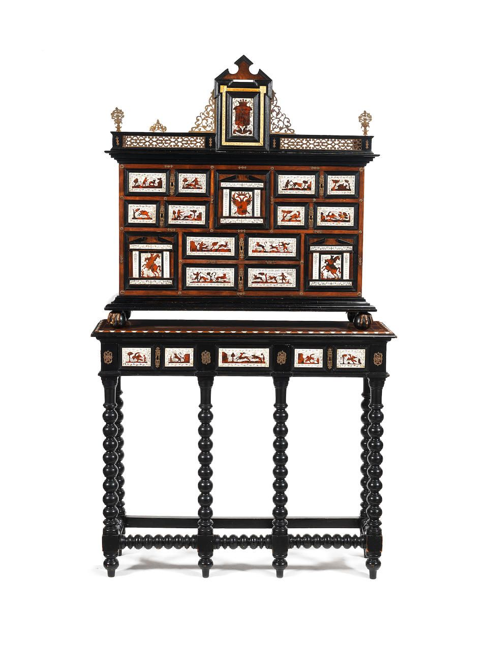 A Spanish Late 19th Century Baroque Style Gilt Metal Mounted Rosewood Ivory Tortoiseshell Parquetry And Ebonised Wood Cabinet On Stand In 2020 Schrank