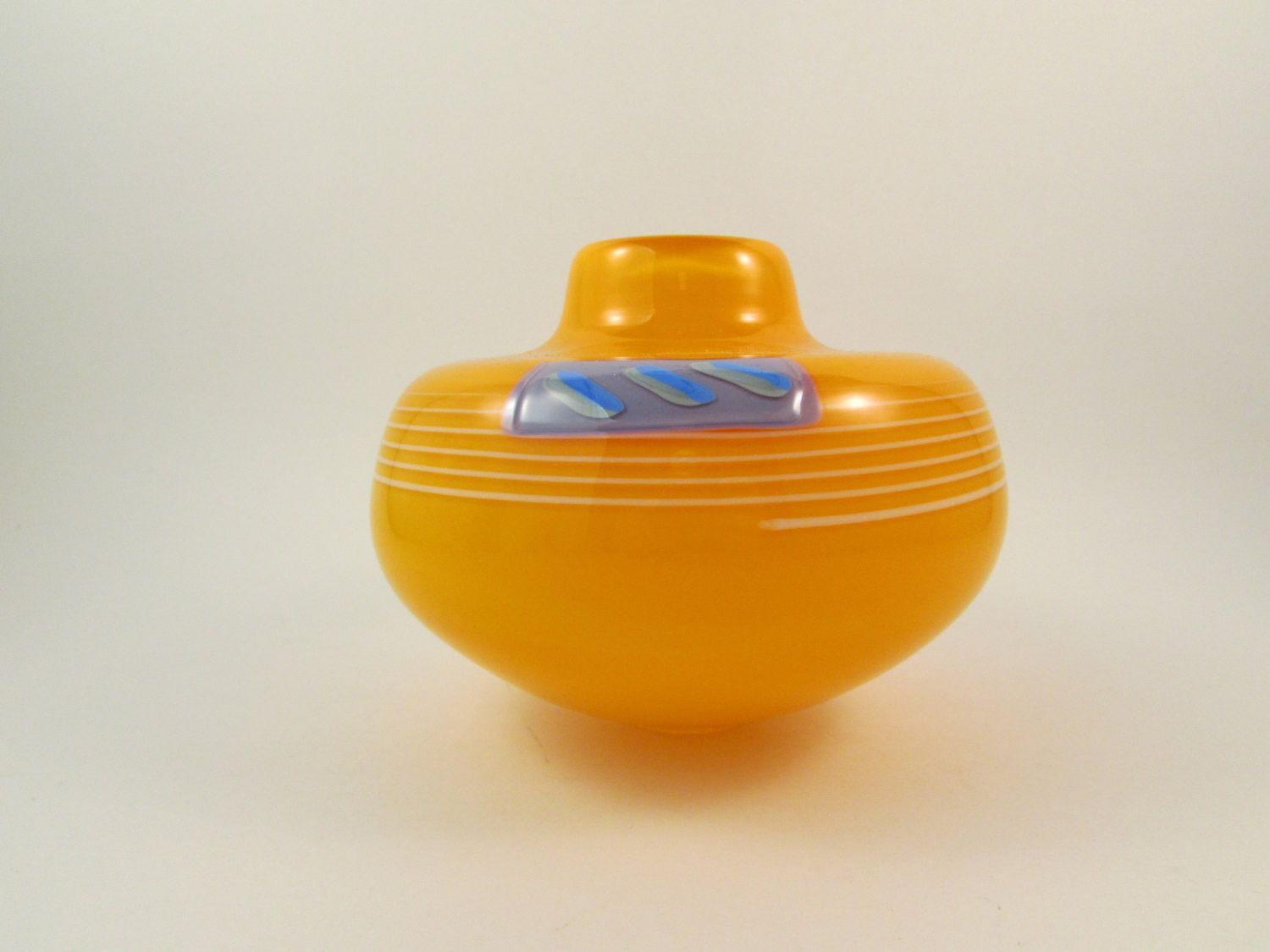 Vintage Glass Vase Hand Blown Orange Gray and White Artist Signed and Dated 1988 Fused Glass Vase