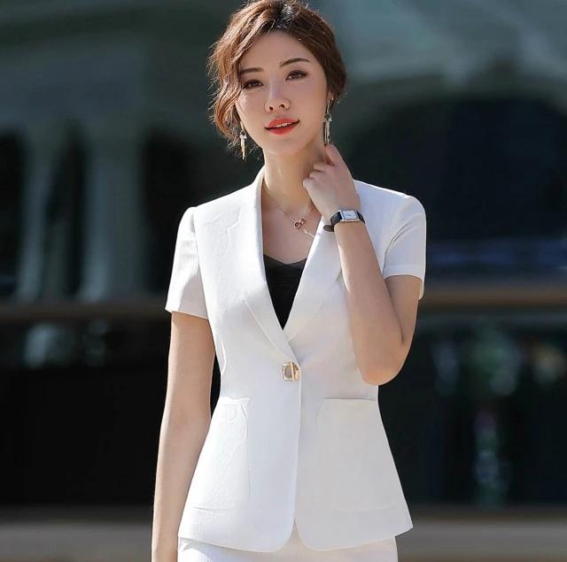 Spring Summer Coat Women 2019 Short Sleeve Single Button Slim Blazers Suits Female 2