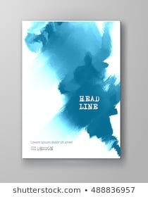 Blue abstract design ink paint on brochure color element isolated white grunge also rh pinterest