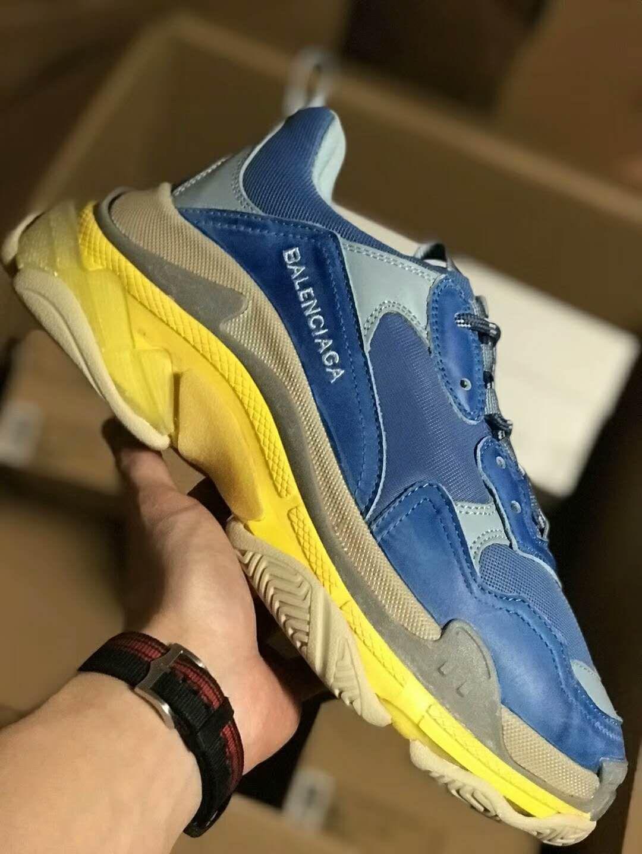 b250b7046fd3 SSENSE Exclusive Balenciaga Triple S Sneakers Blue Yellow ...