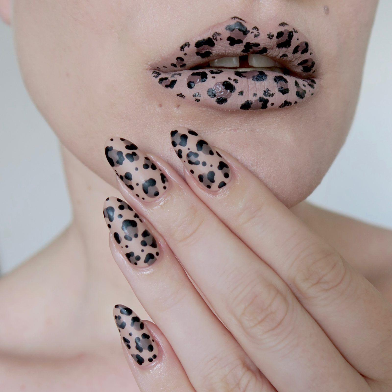 Leopard print nail art/lip art - #TalontedLipsAndTips | nails ...