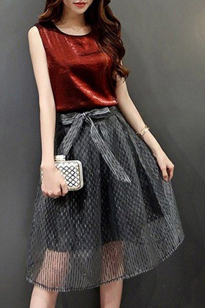Chic Sleeveless Round Collar Back Slit Tank Top + Bowknot Design Organza Skirt Women's Twinset