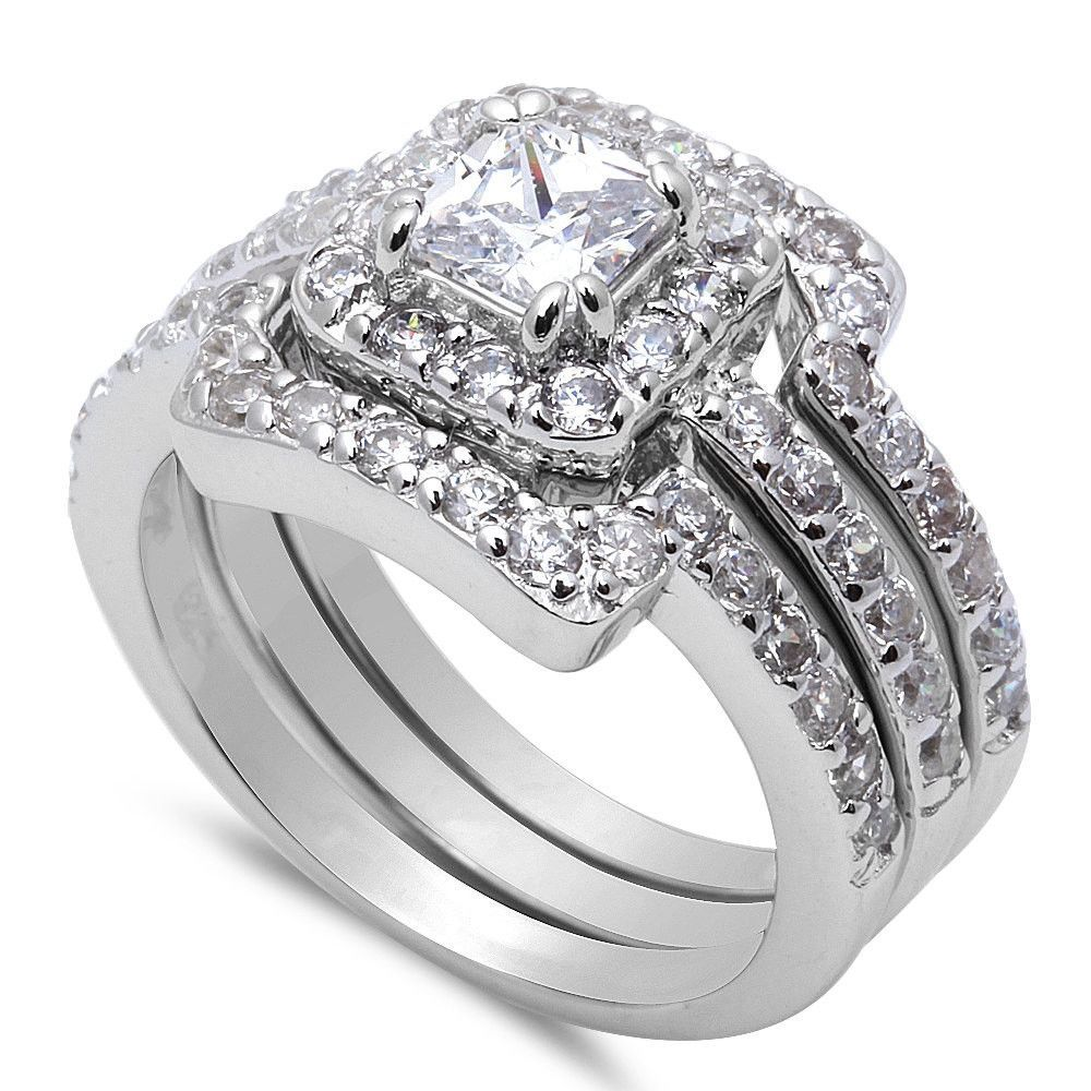 Wedding Engagement Anniversary Ring Trio Set Solid 925