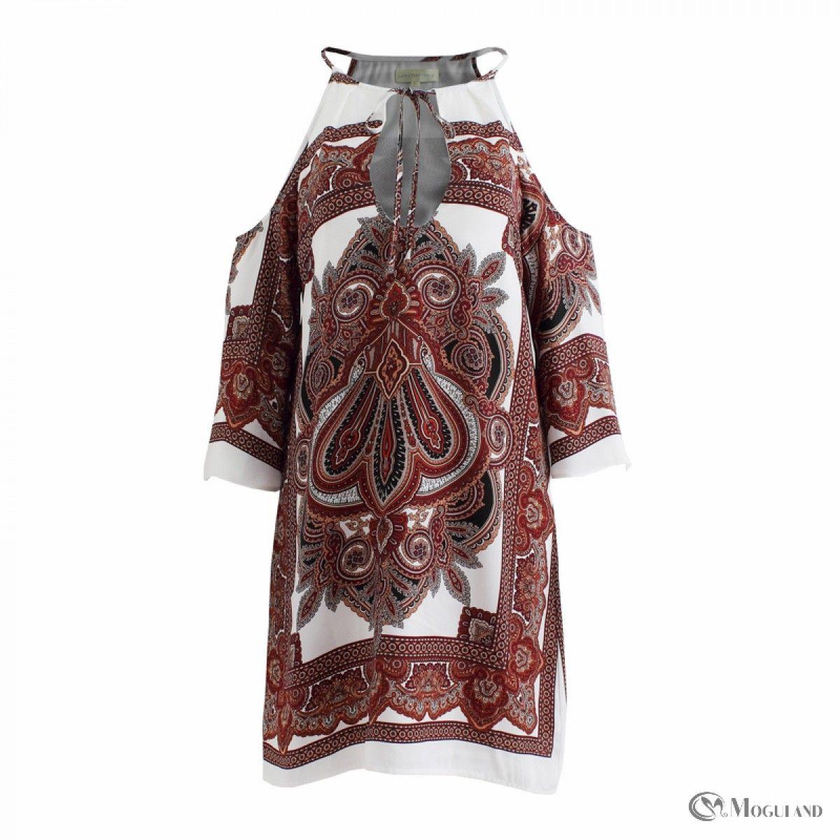Multi-color Aztec print cold shoulder dress front