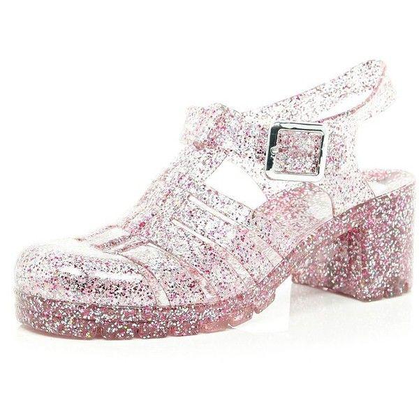 River Island Pink glitter block heel