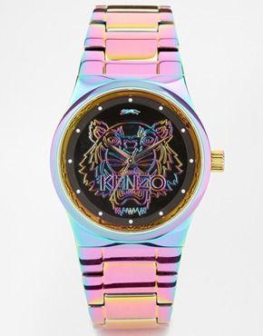 2f3bf8034d089 Reloj con cabeza de tigre en multicolor de Kenzo   cool fashion ...