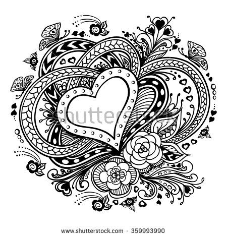 Zen Doodle Heart Frame With Flowers Butterflies Black On White For