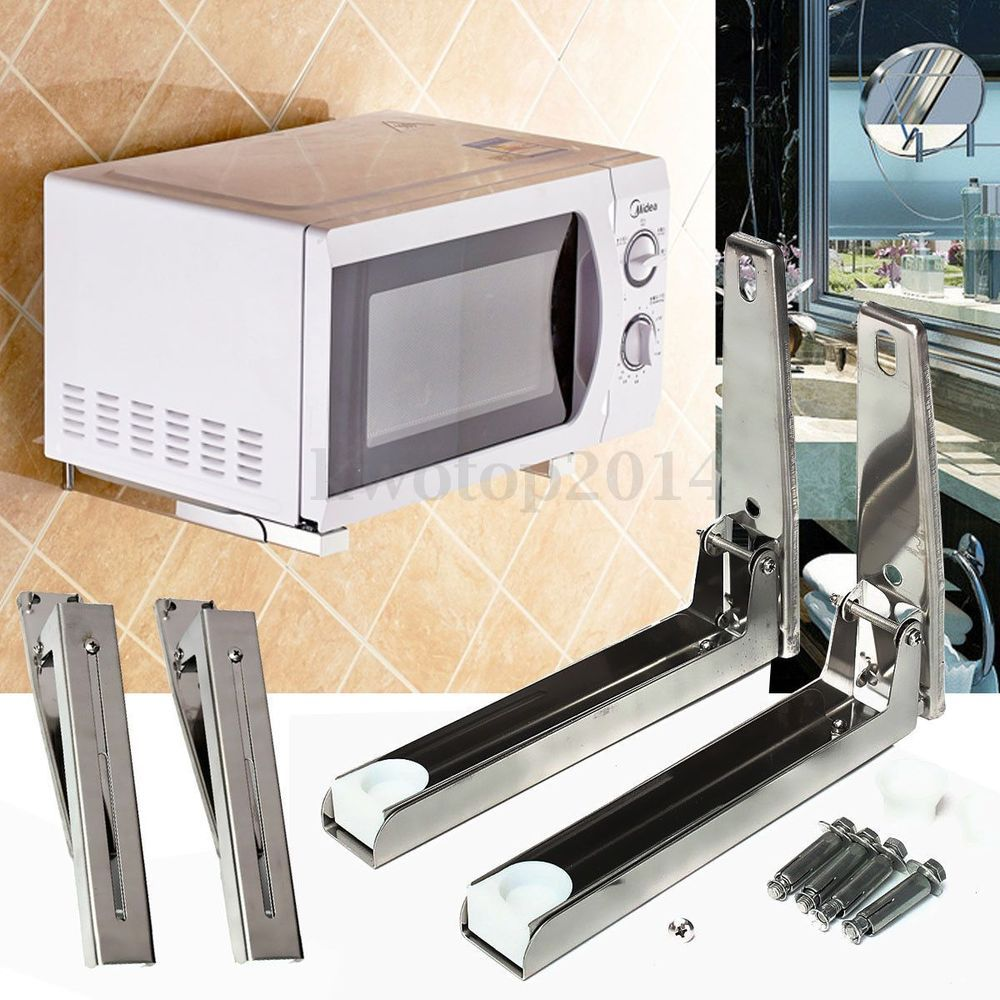 2x Stainless Steel Microwave Oven Bracket Foldable Stretch Wall ...