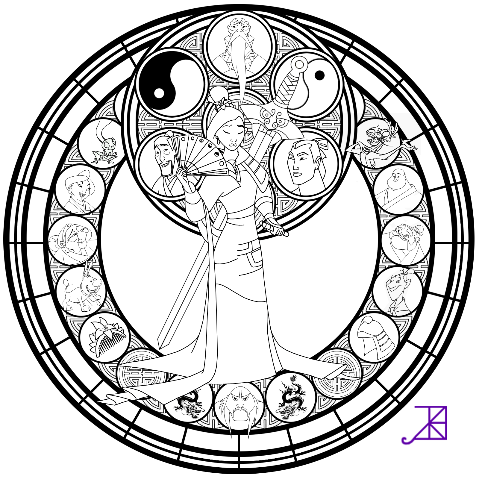 Mulan Stained Glass Line Art By Akili Amethyst D4vu8pv Png 1600 1600 Disney Coloring Pages Coloring Pages Coloring Books