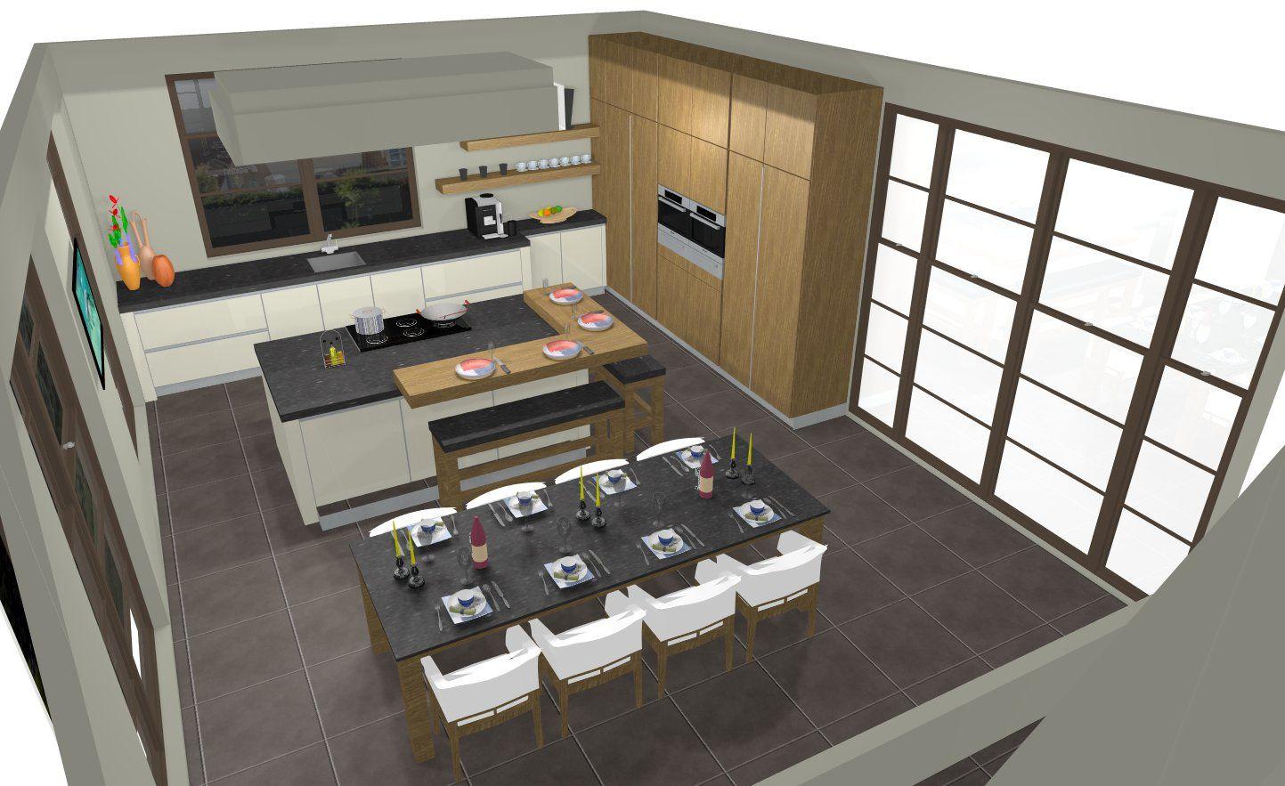Creatief keukenontwerp met praktische indeling inclusief eettafel by tieleman keukens home - Keukenontwerp ...